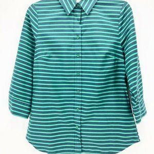 Coldwater Creek Womens Button Down Shirt Green XS